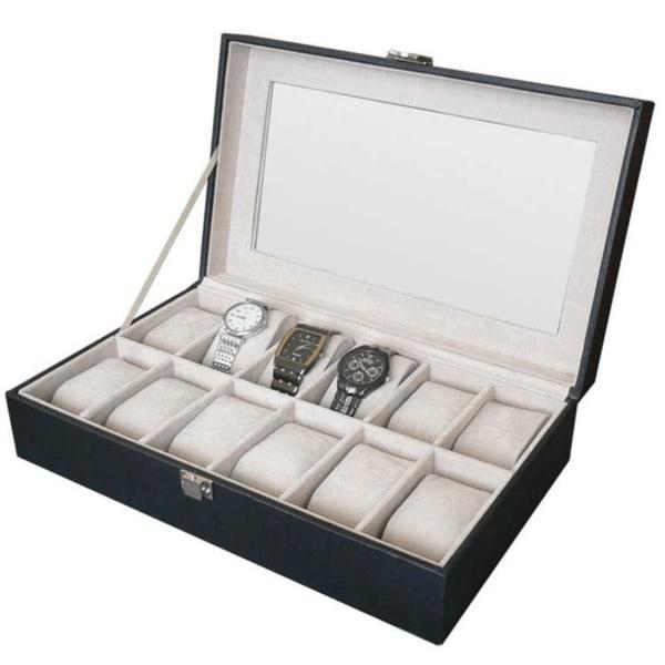 Watchbox Klockbox för 12 klockor med fönster svart med vit söm Svart
