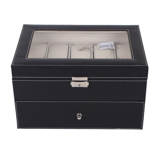 Watchbox Klockbox för 20 st klockor svart - vit söm och fönster