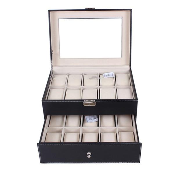 Watchbox Klockbox för 20st klockor PU läder - svart med vit söm