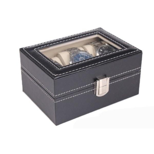 Watchbox Klockbox för 3 st klockor svart med vit söm och fönster Black