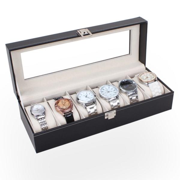 Watchbox Klockbox för 6 klockor - Svart med vit söm  Svart