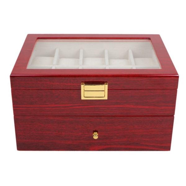 Watchbox Klockbox i trä för 20 klockor med fönster