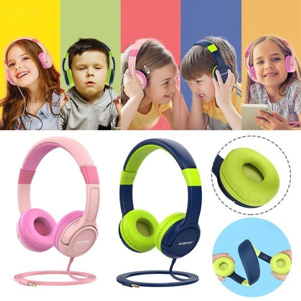 Ausdom K1 Kids hörlurar musikdelning 85dB volym begränsad 2-pack