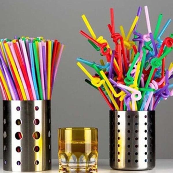 100 st flexibla plast bendy party engångs dricka konstnär