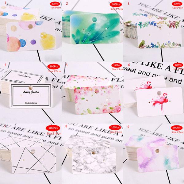 100st Örhängen pack öron stud kort smycken display häng tag lab