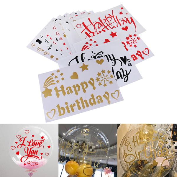 18-36 tum Grattis på födelsedagen Transparent Wave Balloon Stickers Birt