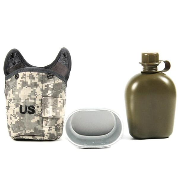 1L utomhus taktisk vattenflaska militär kantine vattenkokare aluminium