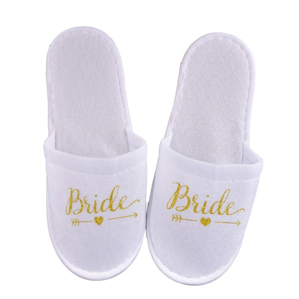 1Pair Bride Wedding Decoration Bridesmaid Party Slippers Ladies Gold bride
