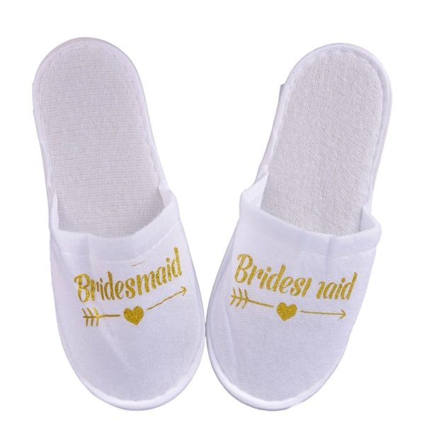1Pair Bride Wedding Decoration Bridesmaid Party Slippers Ladies Gold bridesmaid