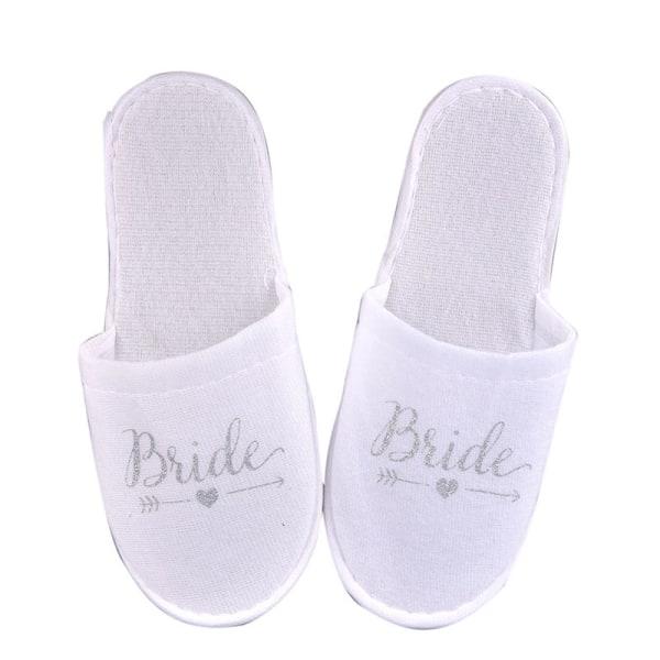 1Pair Bride Wedding Decoration Bridesmaid Party Slippers Ladies Silver bride