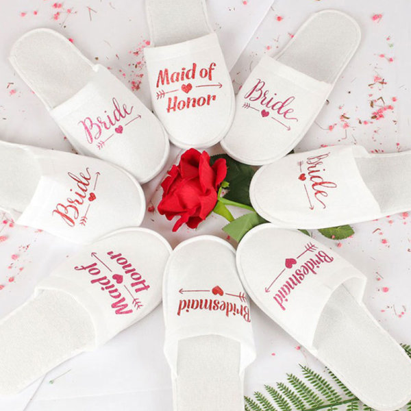 1Pair Bride Wedding Decoration Bridesmaid Party Slippers Ladies Red bride