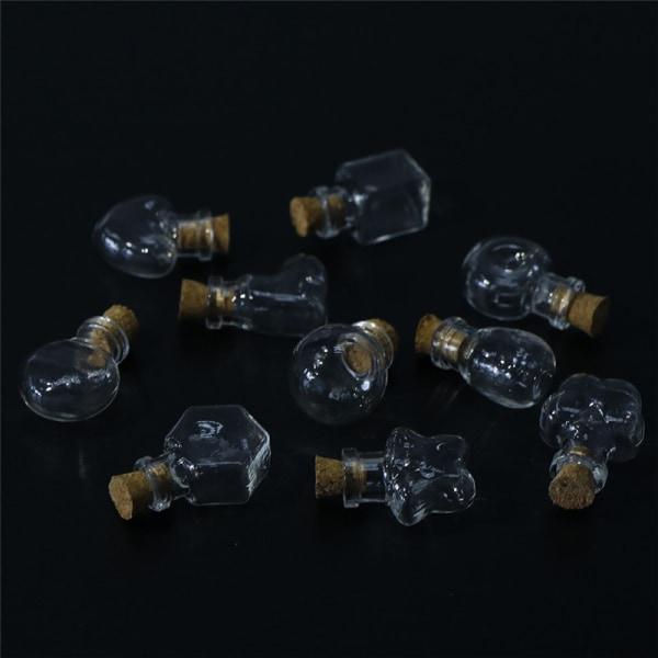 1XMini Tom Cork Mini Glass Flat Round Wishing Bottle Pendant