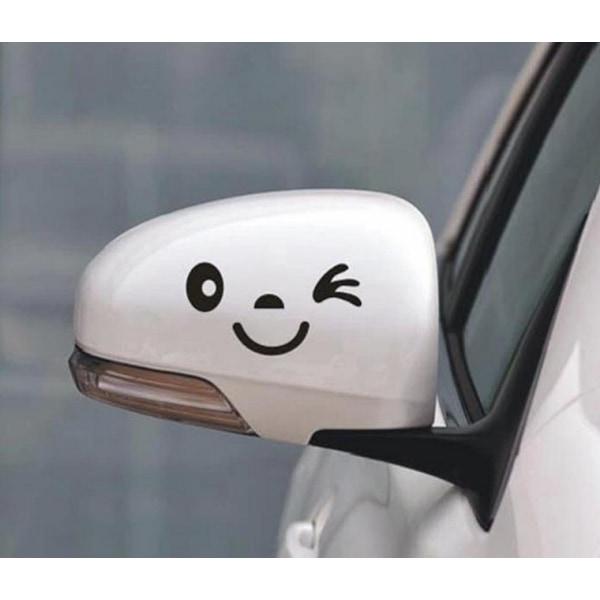 2 st Smiling Face Car Body Decor Decals Backspegel Sticke