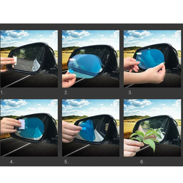 2PCS regntät bil backspegel klistermärke Anti-dimma skyddande