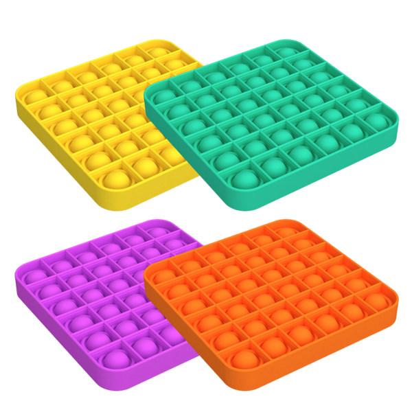 4 Pcs Push pop Bubble Fidget Sensory Toy Four combinations Square