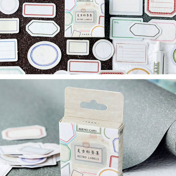 46st / pack Retro tomma etiketter med dekorativ kant Diy Decora