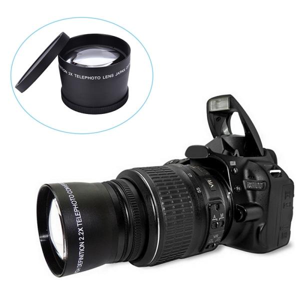 58mm 2.0X professionell teleobjektiv + rengöringsduk för Canon