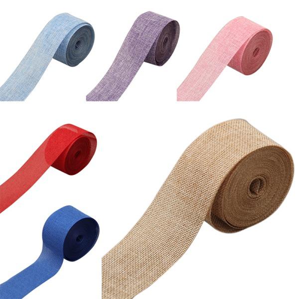 5cm * 10m Naturligt Jute Burlap Ribbon Jute Fabric Roll Hessian Rib