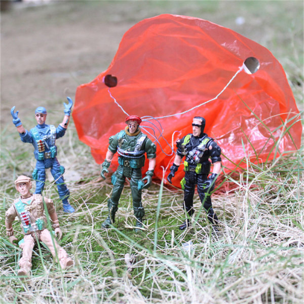 9cm Paratroopers Parachute soldiers Miniatures Military figures One Size