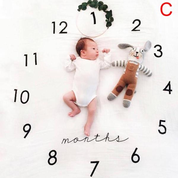 Baby Månadlig Milestone Photo Props Bakgrundsfilt Unisex Ph