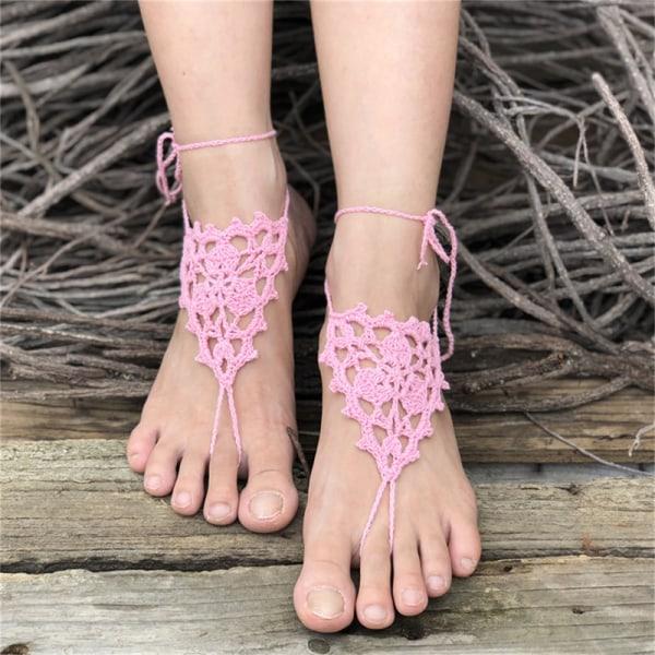 virkade barfota sandaler strand pool slitage tå ring ankelfot je