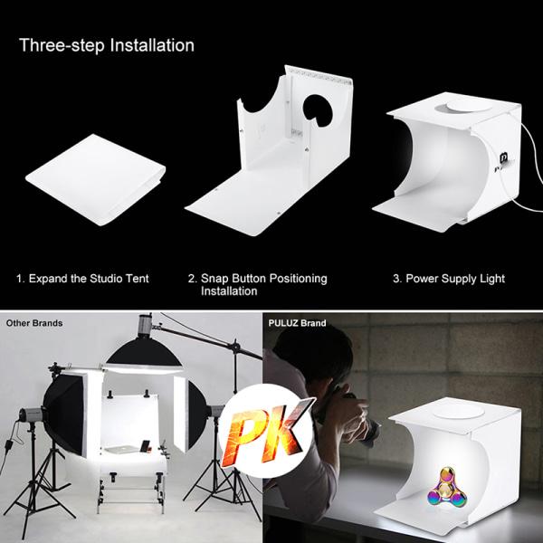 Dubbel LED-ljusrum Fotostudio Fotografi Belysning Tält Ba