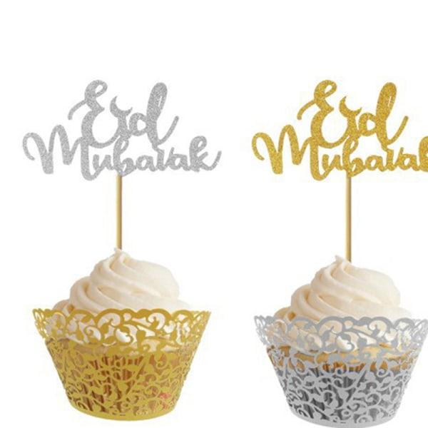 Eid Mubarak Cake Toppers Party Ramadan Decor Cupcake Topper Mus F