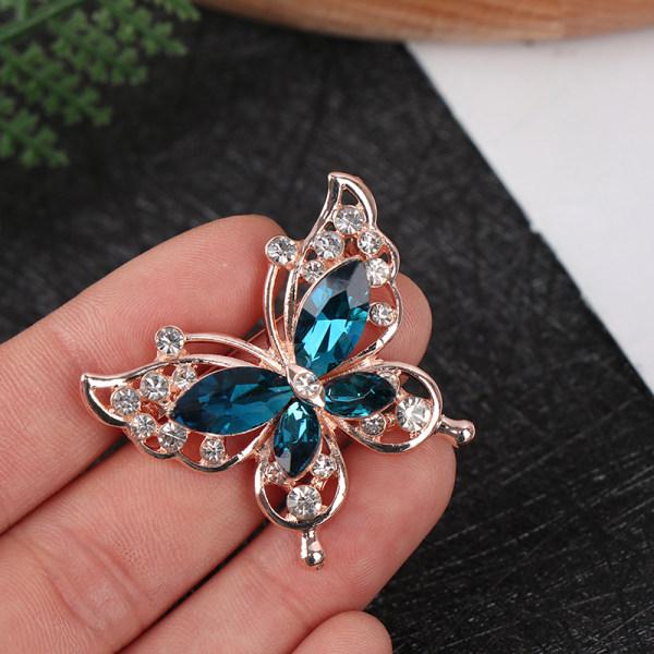 Mode kvinnor guld zink legering kristall utsökt fjäril brosch