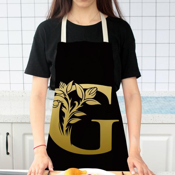 Guldbok Alfabetmönster Köksförkläde för kvinna ärmlös