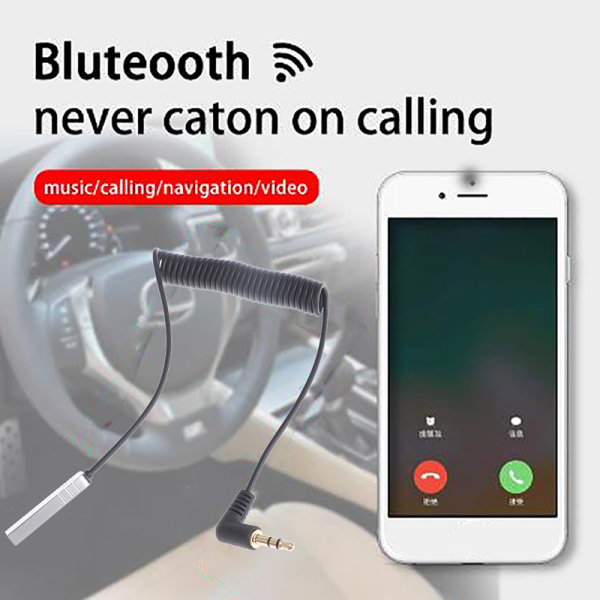 Handsfree-samtal 3,5 mm Jack Aux Bluetooth 5.0 ljudmottagare Musi