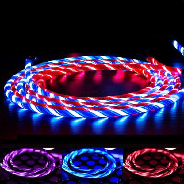 LED Flödande Ljus upp Lightning / TypeC / Micro USB laddningskabel f
