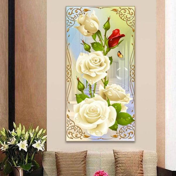Mosaik vit ros DIY 5D diamantbroderimålning Cross Stit