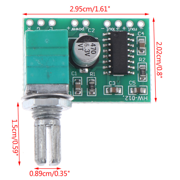 PAM8403 5V AUX-ingång Dual-channel 3W * 2 Audio Digital Small Powe