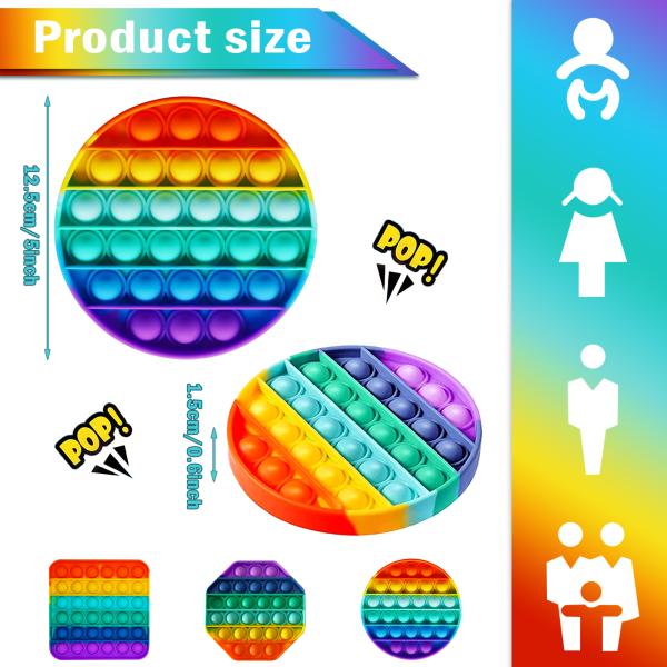 Push Pop Bubble Fidget Sensory Toy MultiColor Suit(Round+Octagonal+Square)