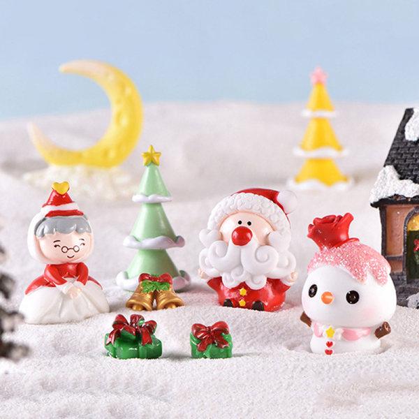 Santa Claus Snowman Tree DIY Mini miniatyrfigur Jul