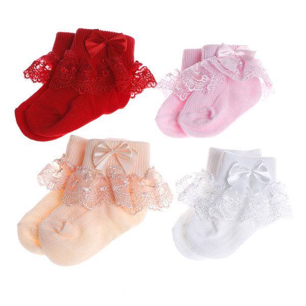 Toddler baby girls princess bowknot sock kids lace ruffle ankle White M