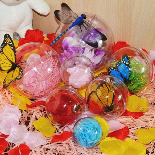 Transparent öppen plast jul dekor boll småsak prydnad G
