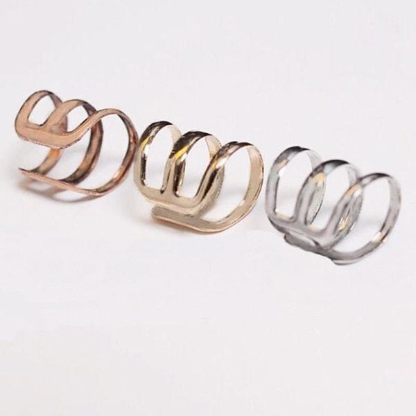 Unisex Fashion Punk Rock Ear Clip Cuff Wrap No Piercing-Clip On Gold