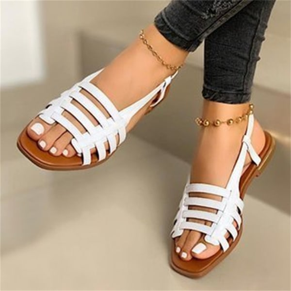 dam tofflor sandaler öppen tå strandskor platt botten ut platt