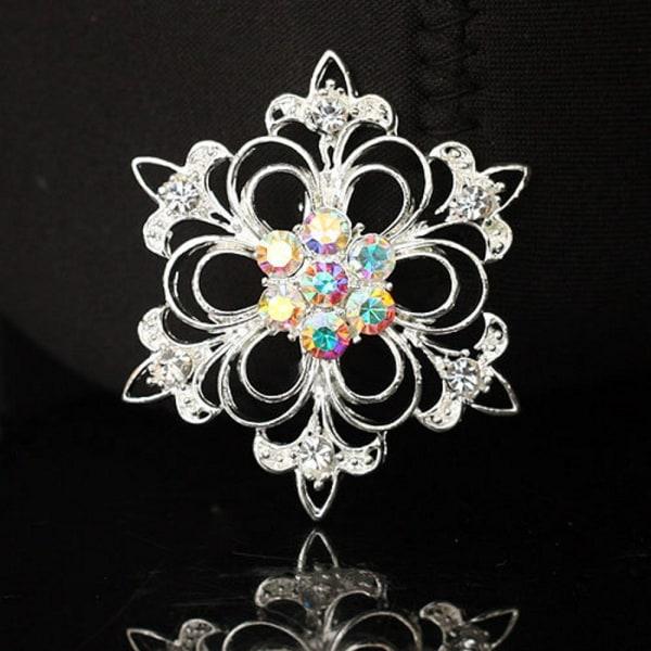 Brosch Kristall blomma