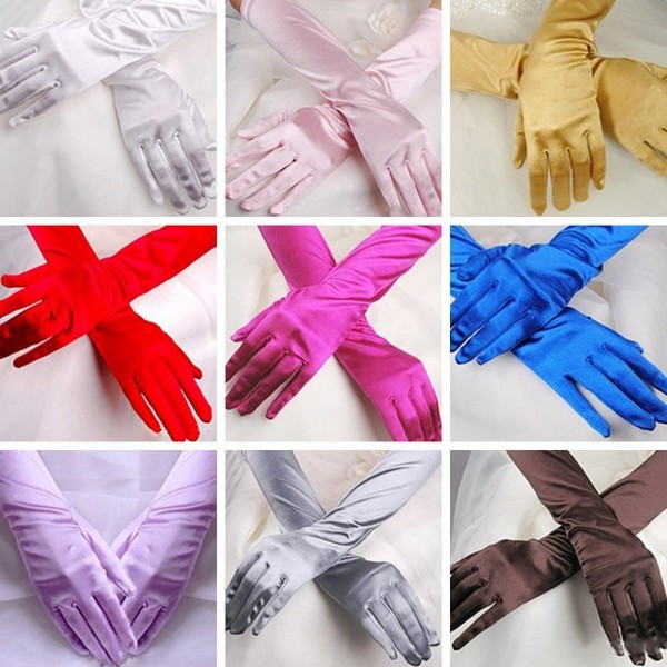 Gloves Stretch Halloween Satin Party Long  VIT