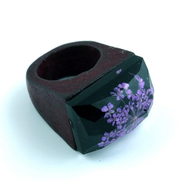 Harts trä ring kreativ handgjord 18