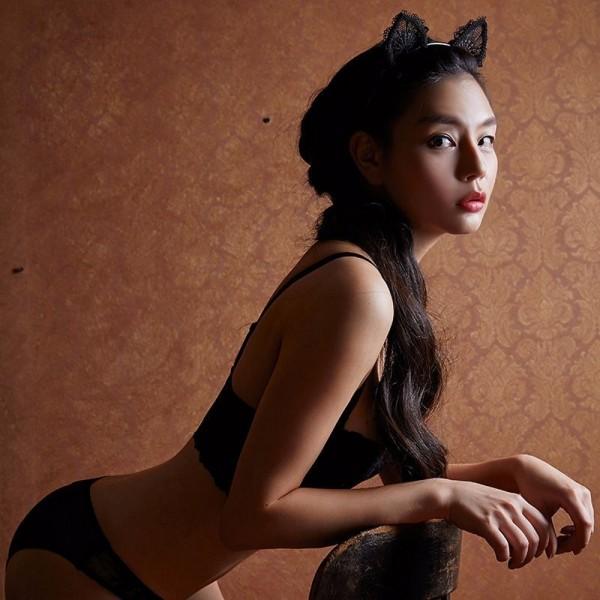 Lady Svart Lace katt - Öron