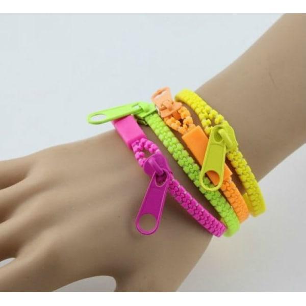 Mixade Färgglada dragkedja Armband GUL