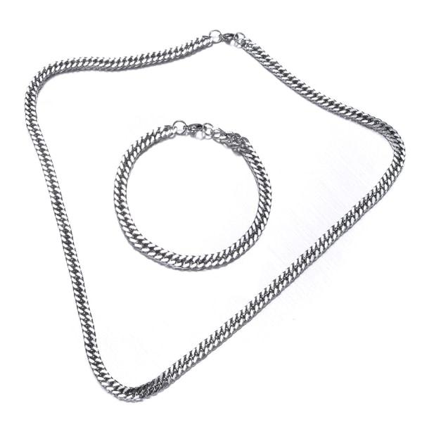 Rostfritt stål halsband + armband Set 6mm