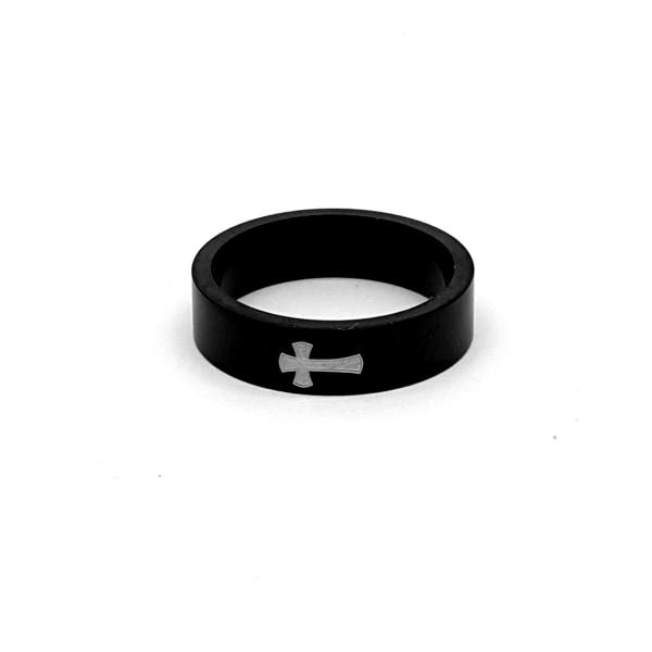 Rostfritt stål ring 6mm svart 22