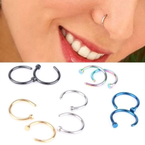 Stud Rostfritt cirkulär piercing näsa ring 5 st pack