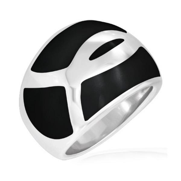 Svart Emalj Ichthus / Fish Christian Symbol Domed ring 19