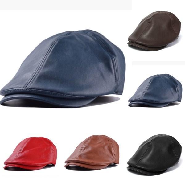Mode toppad läder mössa, vattentät och mångsidig, unisex