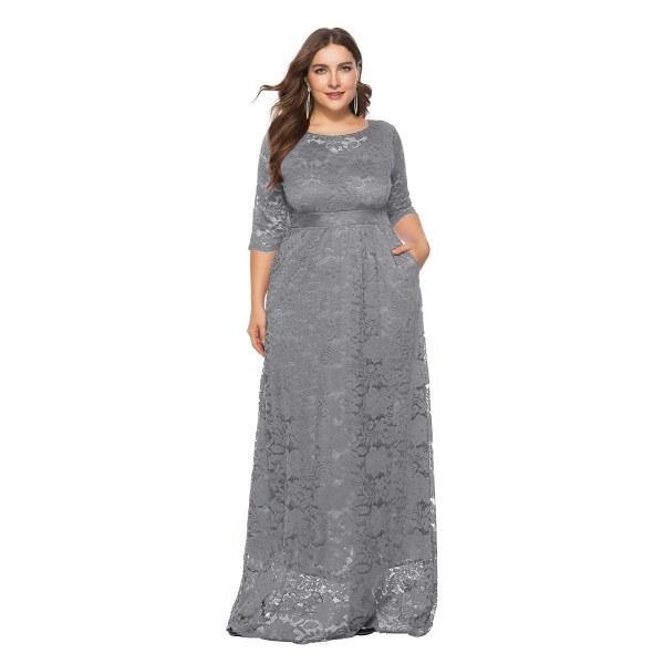 Plus Size Damklänning Spetsficka Aftonklänning Lång kjol grey XL